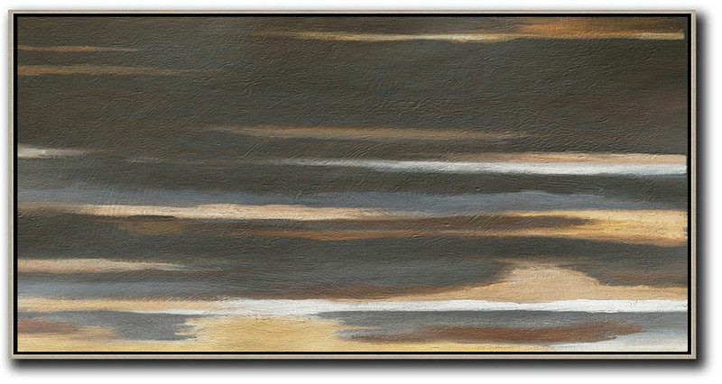 Hand Painted Panoramic Abstract Painting,Original Abstract Painting Canvas Art,Black,Brown,Grey,Yellow,White
