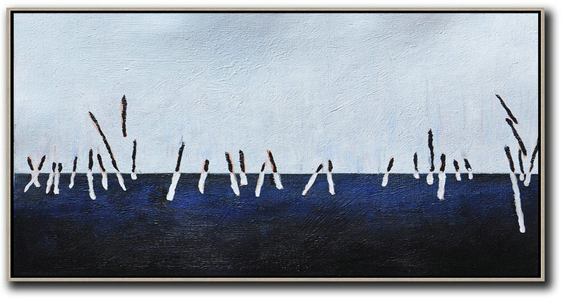 Hand Painted Panoramic Abstract Painting,Large Abstract Art Handmade Acrylic Painting,White,Grey,Dark Blue,Black