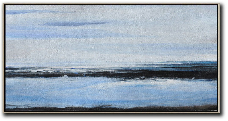 Panoramic Abstract Landscape Painting On Canvas,Original Abstract Painting Canvas Art,Grey,Blue,Black