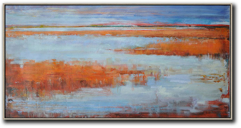 Panoramic Abstract Landscape Painting,Hand Painted Aclylic Painting On Canvas,Blue,Orange,Red