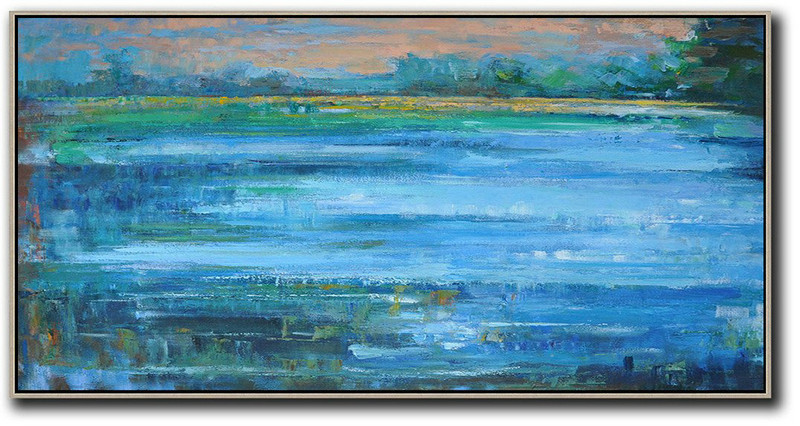 Panoramic Abstract Landscape Painting,Original Art Acrylic Painting,Blue,Nude,Dark Green