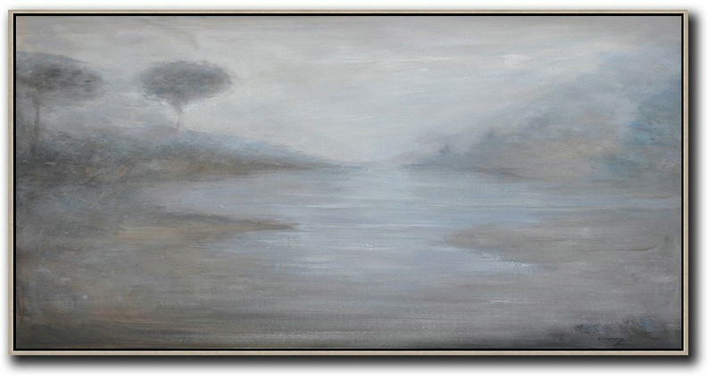Panoramic Abstract Landscape Painting,Huge Canvas Art On Canvas,Beige,White,Grey