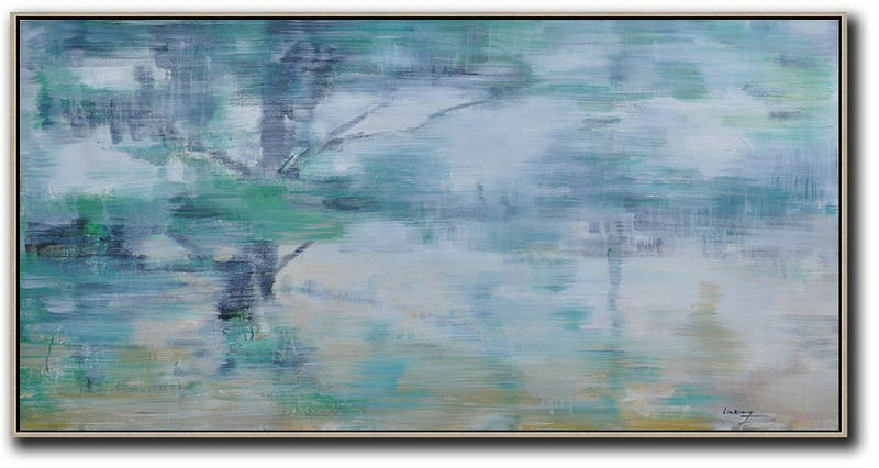 Panoramic Abstract Landscape Painting,Large Paintings For Living Room,Blue Grey,Green,White,Yellow
