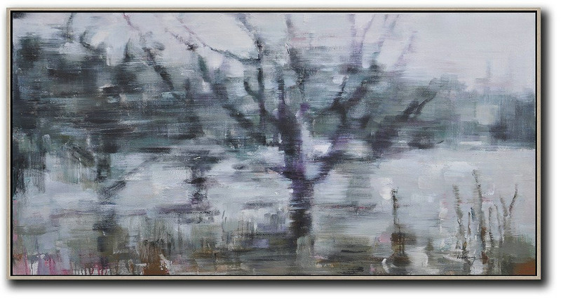 Panoramic Abstract Landscape Painting,Extra Large Paintings,Dark Green,Purple,Grey,White