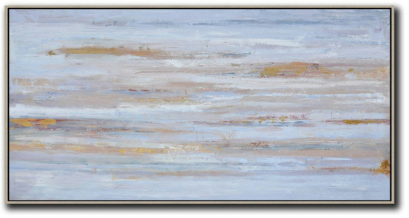 Panoramic Abstract Oil Painting On Canvas,Oversized Art,Dusty Blue,Yellow,Pink