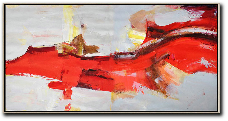 Horizontal Palette Knife Contemporary Art Panoramic Canvas Painting,Acrylic Painting On Canvas,Red,Grey,Yellow