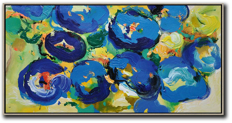 Horizontal Palette Knife Contemporary Art Panoramic Canvas Painting,Custom Canvas Wall Art,Blue,Yellow,Green