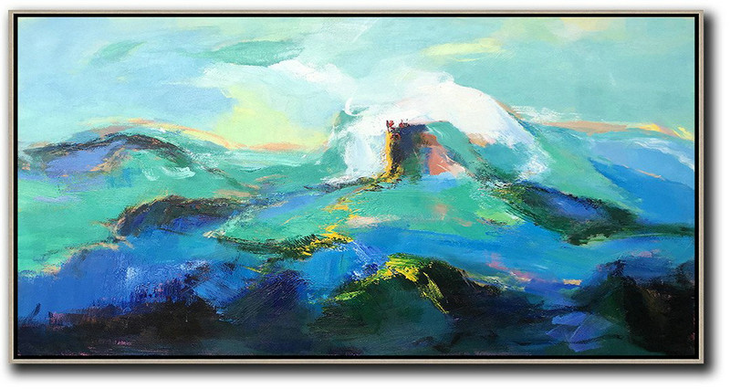 Horizontal Palette Knife Abstract Landscape Art Panoramic Canvas Painting,Large Colorful Wall Art,Blue,Green,White,Black