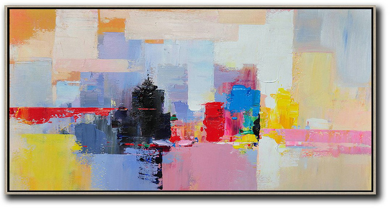 Horizontal Palette Knife Contemporary Art Panoramic Canvas Painting,Hand Painted Original Art,Black,Pink,Yellow,Red,Blue