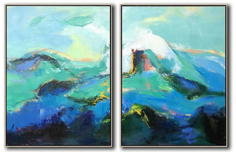 Set Of 2 Abstract Landscape Painting On Canvas,Acrylic Painting Canvas Art,Green,Blue,Black,White