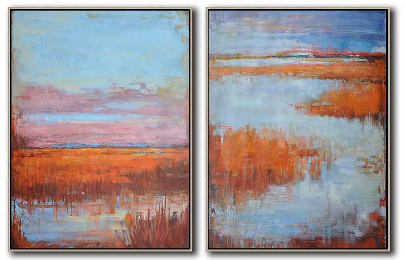 Set Of 2 Abstract Landscape Painting On Canvas,Wall Art Painting,Blue,Pink,Earthy Yellow