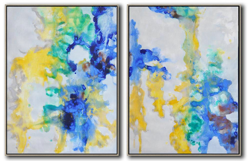 Set Of 2 Abstract Oil Painting On Canvas,Colorful Wall Art,Grey,Yellow,Blue,Green