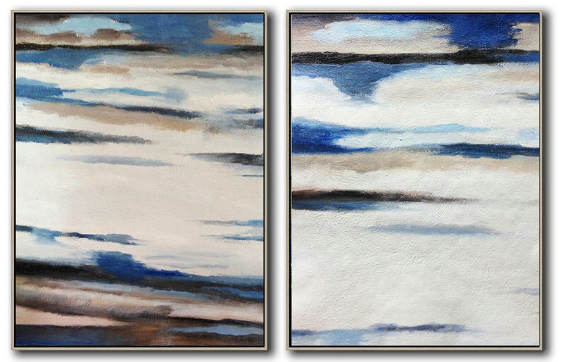 Set Of 2 Abstract Painting On Canvas,Wall Art Ideas For Living Room,White,Blue,Black,Brown