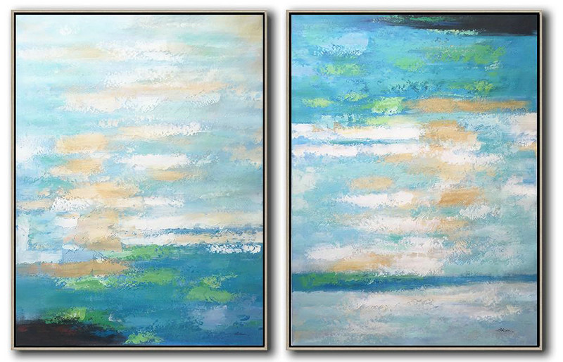 Set Of 2 Abstract Painting On Canvas,Hand Painted Acrylic Painting,Blue,White,Yellow,Green