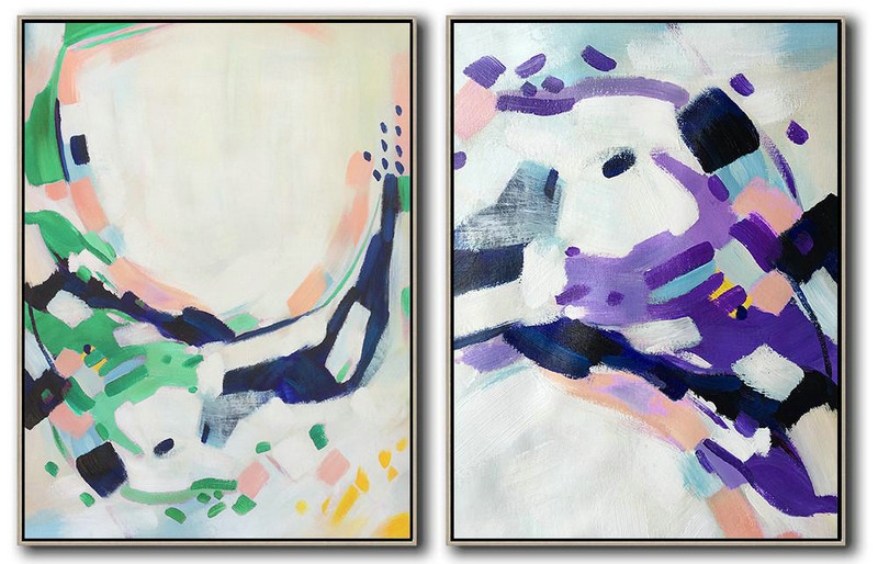 Set Of 2 Abstract Painting On Canvas,Pop Art Canvas,White,Pink,Purple,Green,Dark Blue