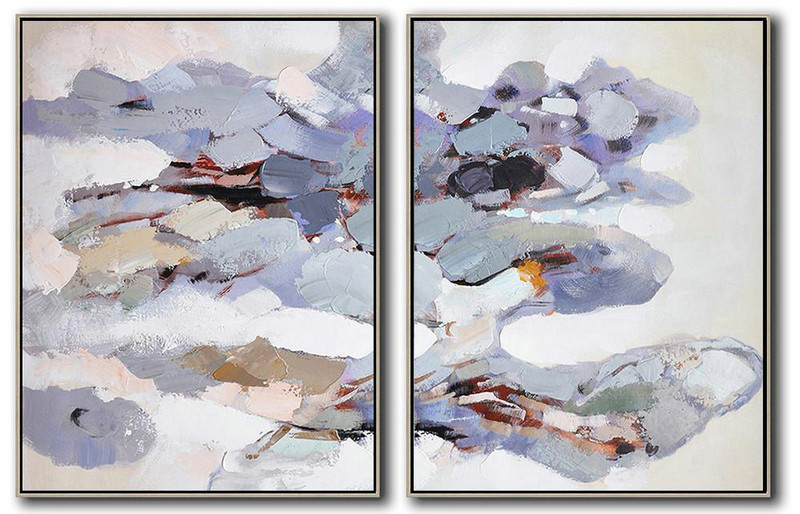 Set Of 2 Abstract Painting On Canvas,Hand-Painted Contemporary Art,White,Grey,Purple,Yellow