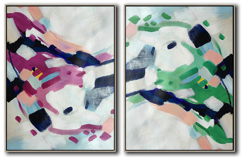 Set Of 2 Abstract Painting On Canvas,Large Living Room Decor,Grey,Purple,Green,Pink.Dark Blue