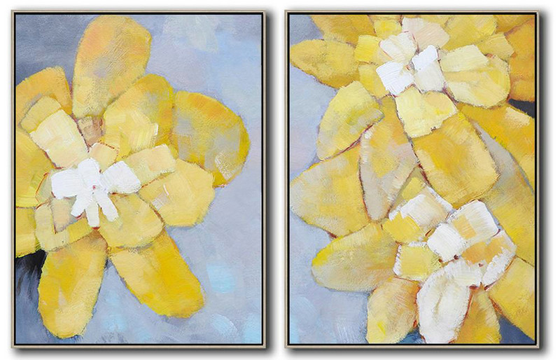 Set Of 2 Abstract Painting On Canvas,Contemporary Art Wall Decor,Grey,Yellow,White