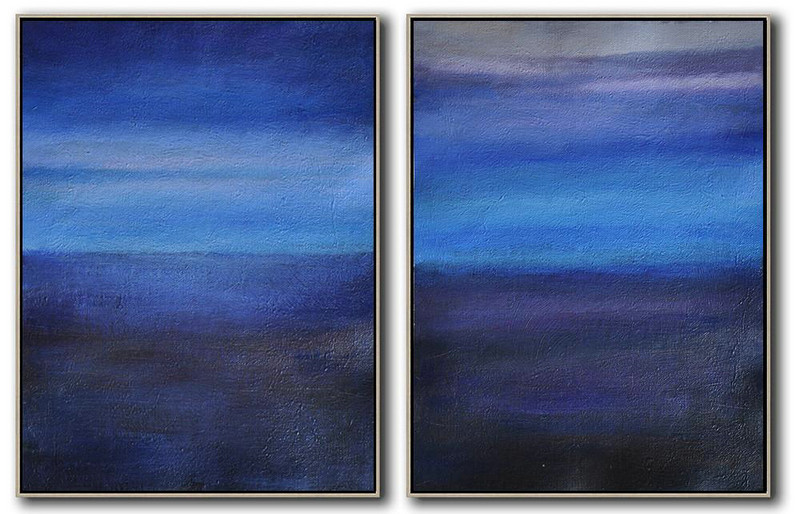 Set Of 2 Abstract Painting On Canvas,Canvas Wall Art Home Decor,Light Blue,Dark Blue,Grey,Black