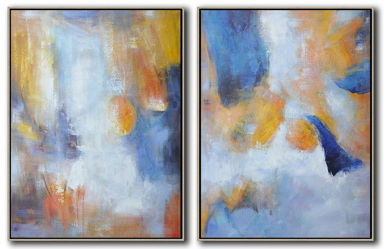 Set Of 2 Abstract Painting On Canvas,Giant Canvas Wall Art,Yellow,Blue,White