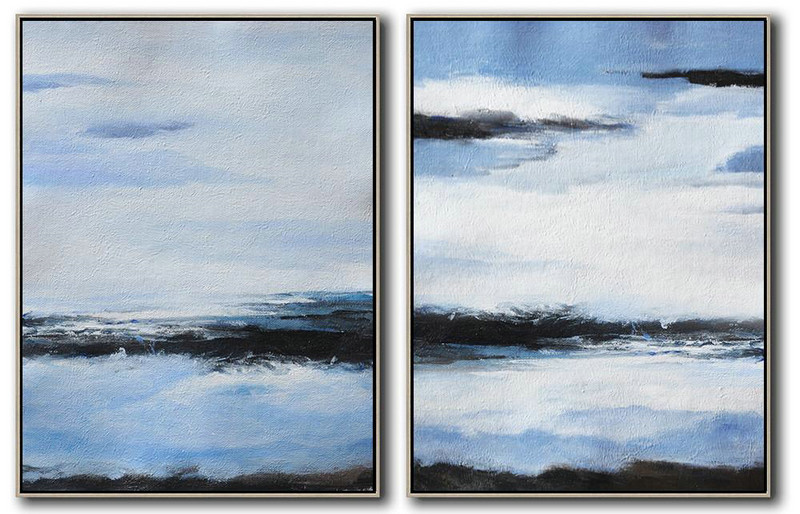 Set Of 2 Abstract Painting On Canvas,Big Painting,Blue,White,Black