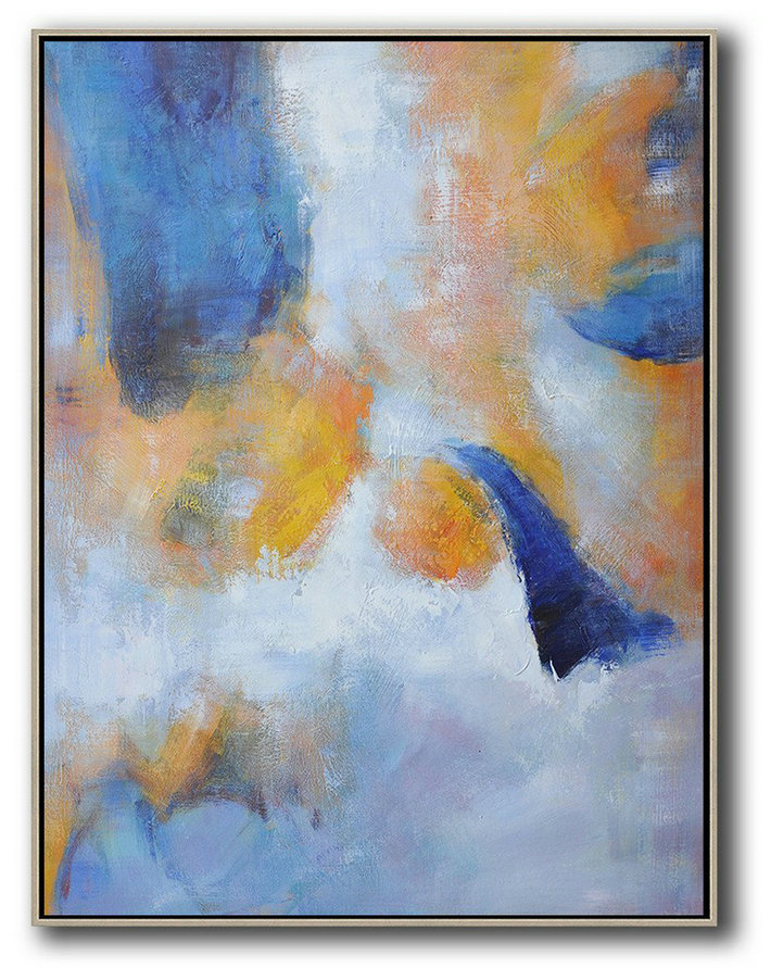 Hand Painted Vertical Abstract Art,Modern Paintings On Canvas,Yellow,White,Blue