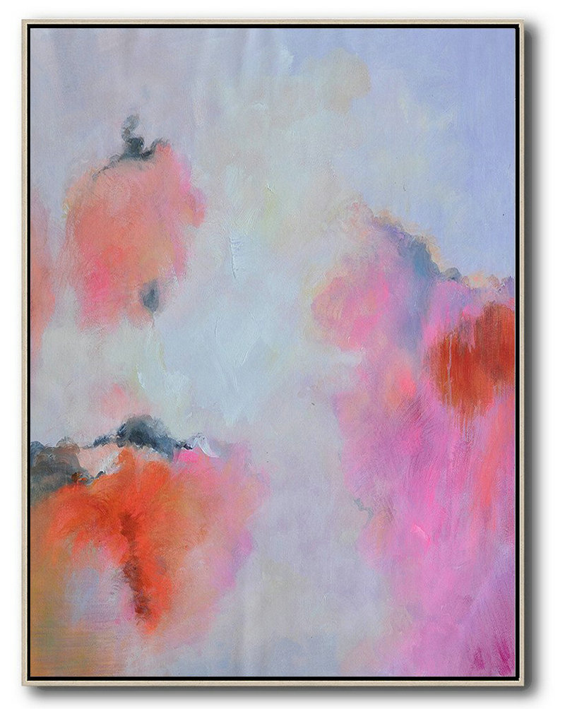 Hand Painted Vertical Square Abstract Art,Large Canvas Wall Art For Sale,Blue,Pink,Red