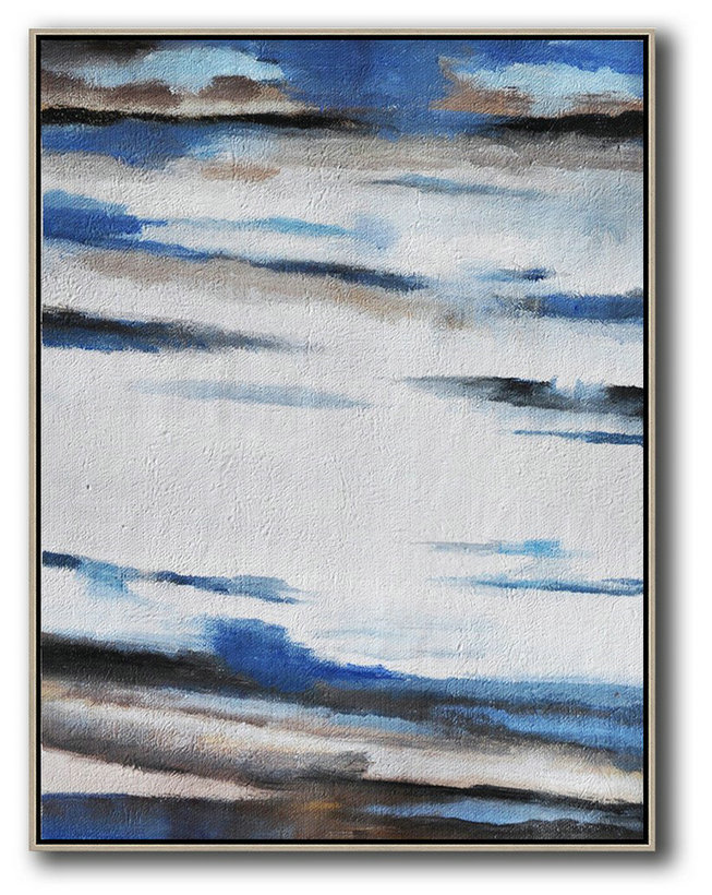 Oversized Abstract Landscape Painting,Huge Abstract Canvas Art,Blue,White,Grey,Brown