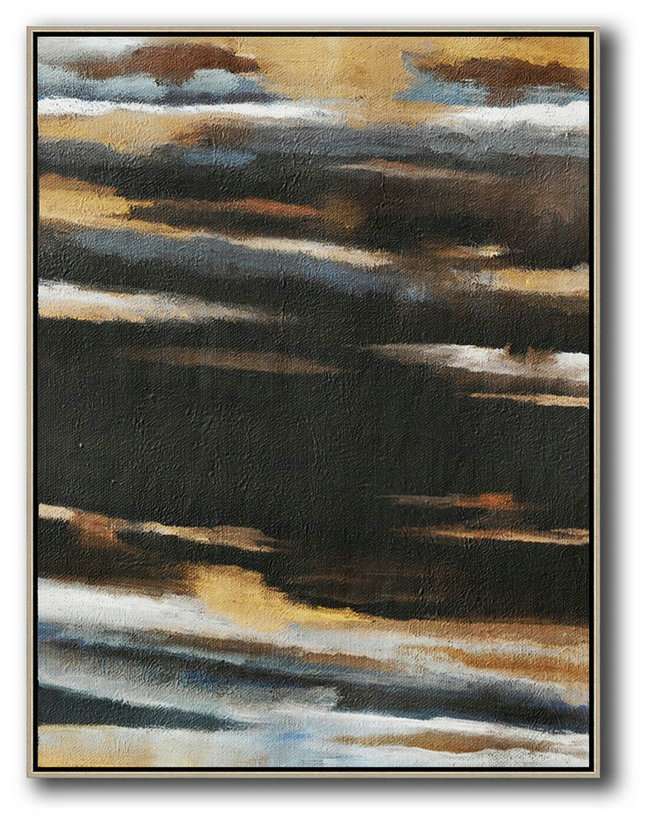 Oversized Abstract Landscape Painting,Big Painting,Yellow,Grey,Black,White