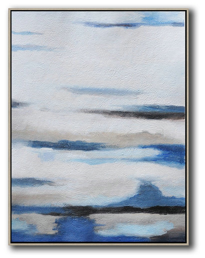 Oversized Abstract Landscape Painting Hand Paint Large Clean Modern Art White Blue