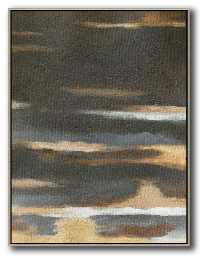 Oversized Abstract Landscape Painting,Xl Large Canvas Art,Black,Yellow,Brown,Grey