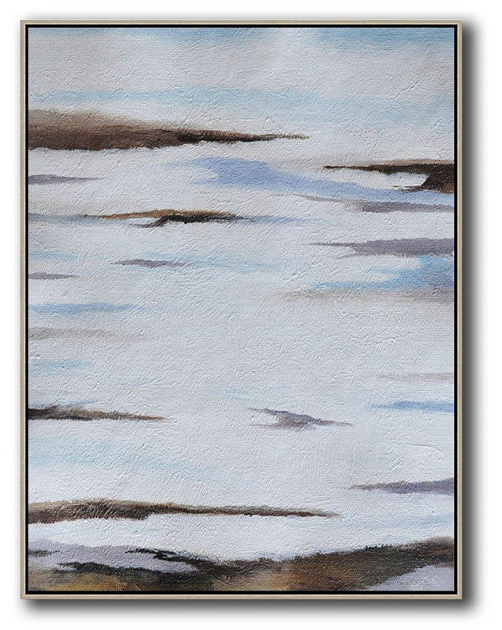 Oversized Abstract Landscape Painting,Acrylic Painting Canvas Art,Blue,White,Brown,Grey
