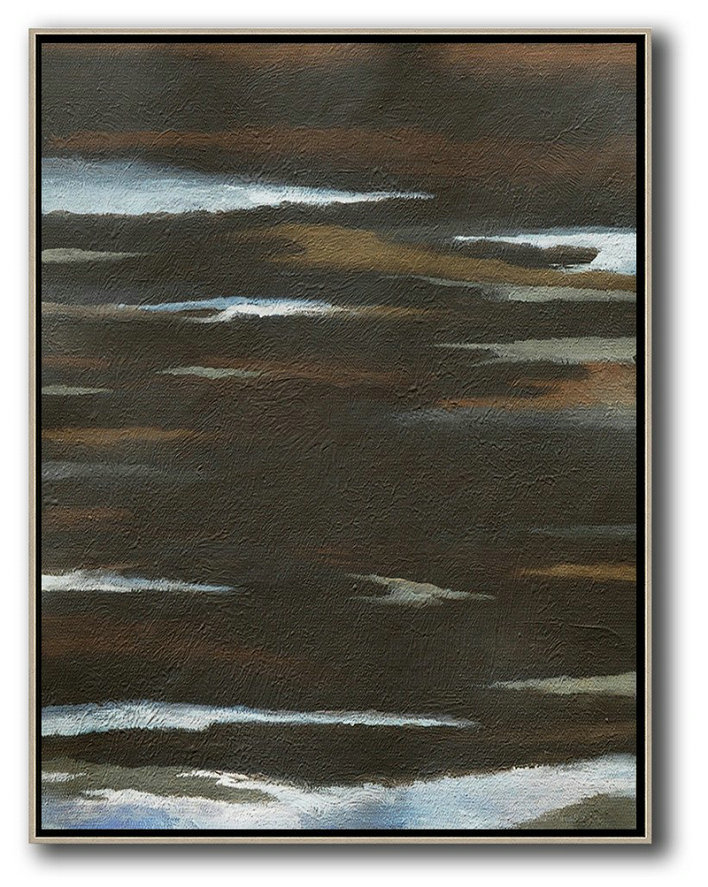 Oversized Abstract Landscape Painting,Large Living Room Decor,Black,White,Brown