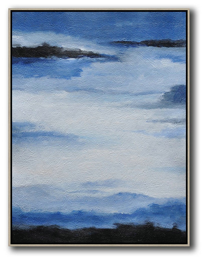 Oversized Abstract Landscape Painting,Extra Large Canvas Art,Handmade Acrylic Painting,Blue,White,Black