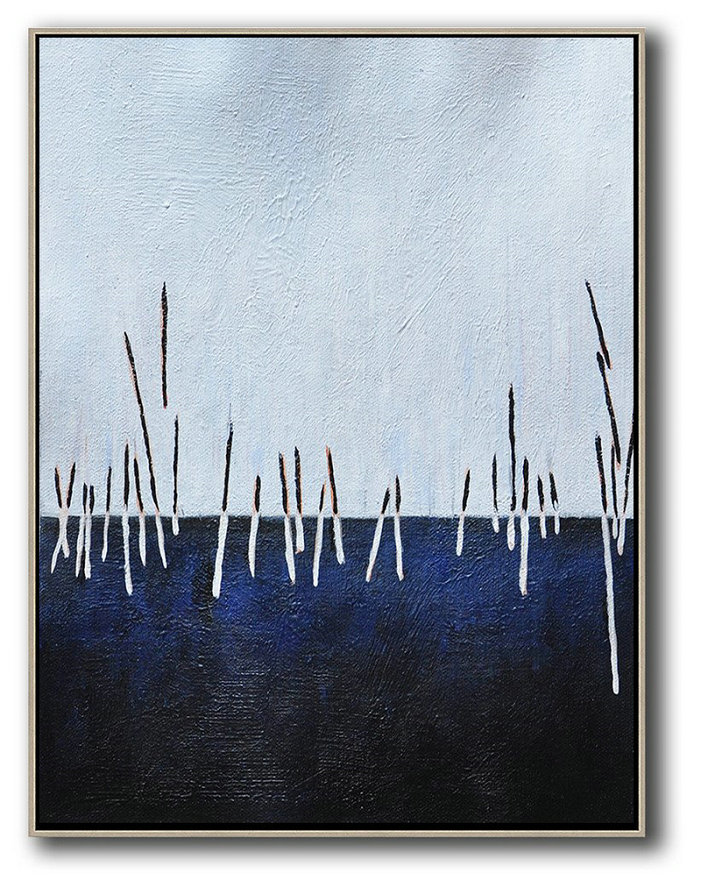 Oversized Abstract Landscape Painting,Textured Painting Canvas Art,White,Dark Blue,Black