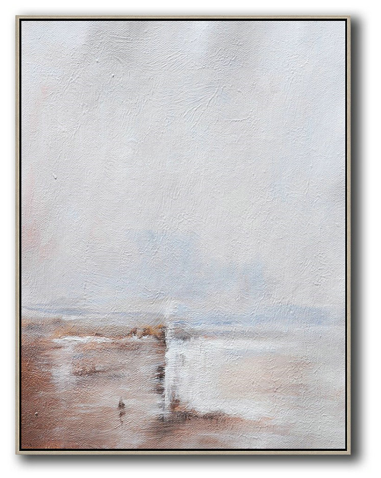 Oversized Abstract Landscape Painting,Abstract Oil Painting,Grey,White,Pink