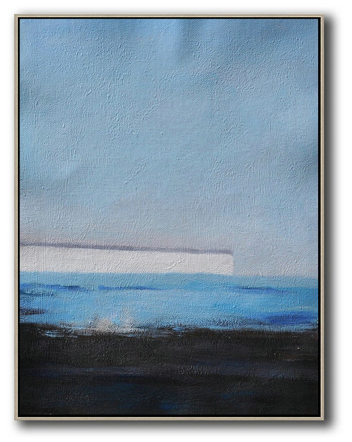 Oversized Abstract Landscape Painting,Hand-Painted Contemporary Art,Grey,White,Blue,Black