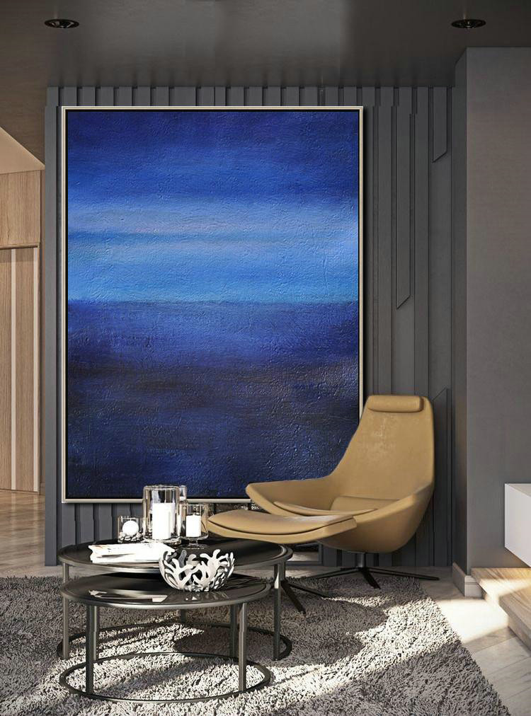 Oversized Abstract Landscape Painting,Abstract Art Decor,Contemporary Painting,Dark Blue,Blue,White