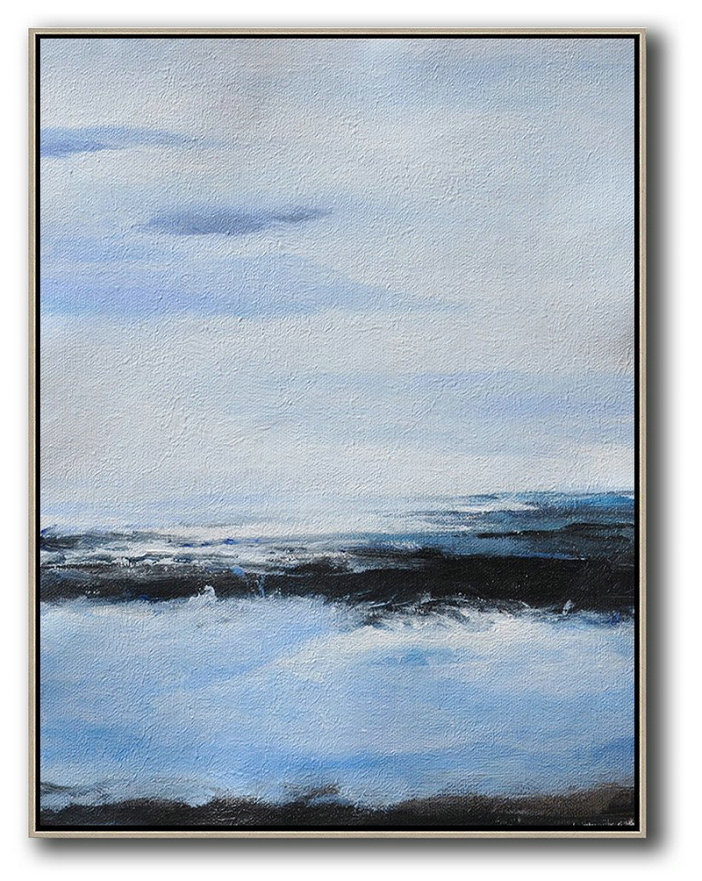 Oversized Abstract Landscape Painting,Modern Art Abstract Painting,Grey,Blue,White,Black