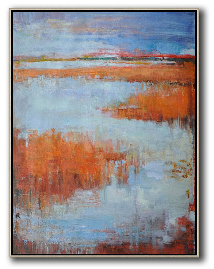 Oversized Abstract Landscape Painting,Hand Paint Abstract Painting,Blue,Orange,Grey