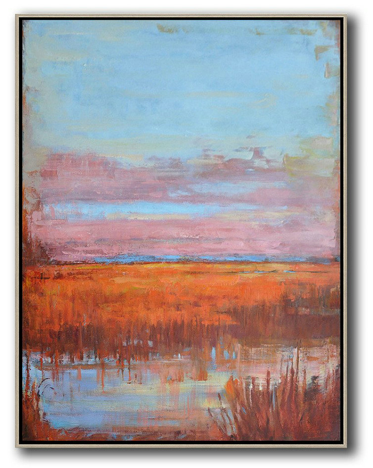 Oversized Abstract Landscape Painting,Large Contemporary Art Canvas Painting,Blue,Pink,Orange,Red