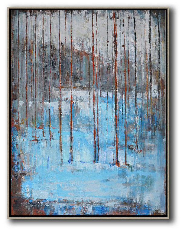 Oversized Abstract Landscape Painting,Original Art Acrylic Painting,Grey,White,Blue,Red
