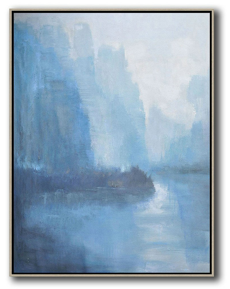 Oversized Abstract Landscape Painting Hand Painted Original Art Sky Blue Grey White