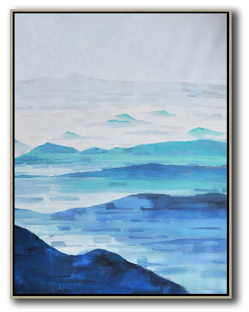 Oversized Abstract Landscape Painting,Abstract Art On Canvas, Modern Art,Grey,White,Dark Blue,Blue