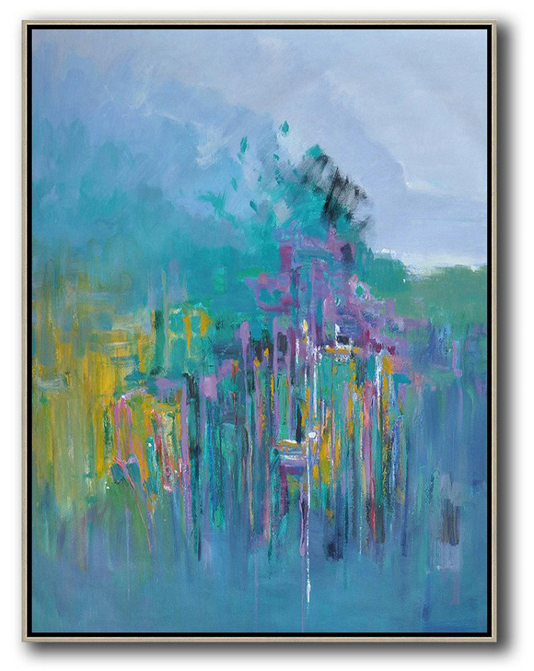 Oversized Abstract Landscape Painting,Hand Painted Abstract Art,Blue,Yellow,Purple,Green