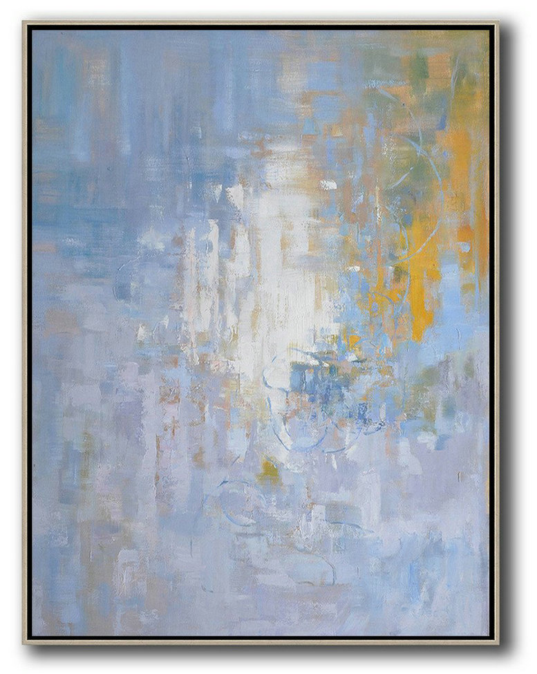 Oversized Abstract Landscape Painting,Hand-Painted Canvas Art,Blue,White,Yellow,Grey