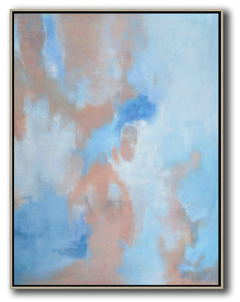 Oversized Abstract Landscape Painting,Original Abstract Painting Canvas Art,Pink,Blue,White