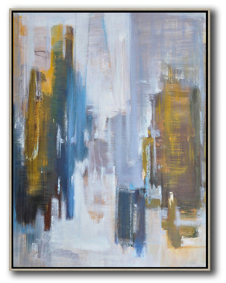 Oversized Abstract Landscape Painting,Large Abstract Art Handmade Acrylic Painting,Yellow,White,Blue,Brown