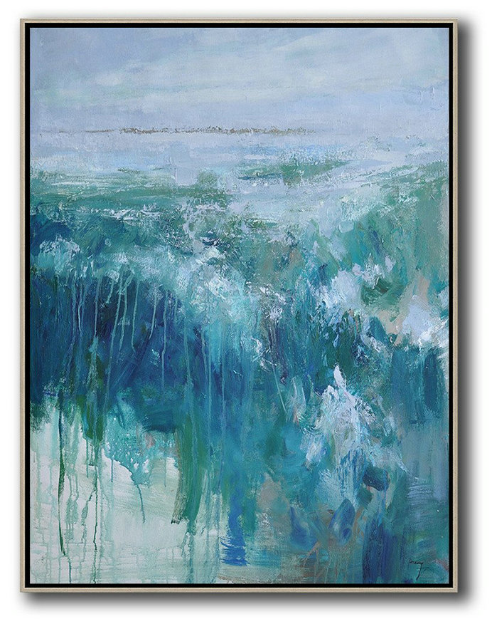Oversized Abstract Landscape Painting,Original Abstract Painting Canvas Art,Grey,Dark Blue,White,Green
