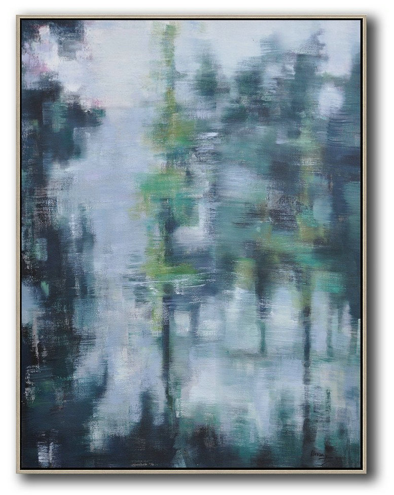 Oversized Abstract Landscape Painting,Hand Painted Aclylic Painting On Canvas,Grey,Light Green,Black
